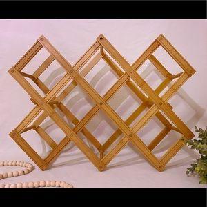 Boho Bamboo Wood Accordion Wine Rack
